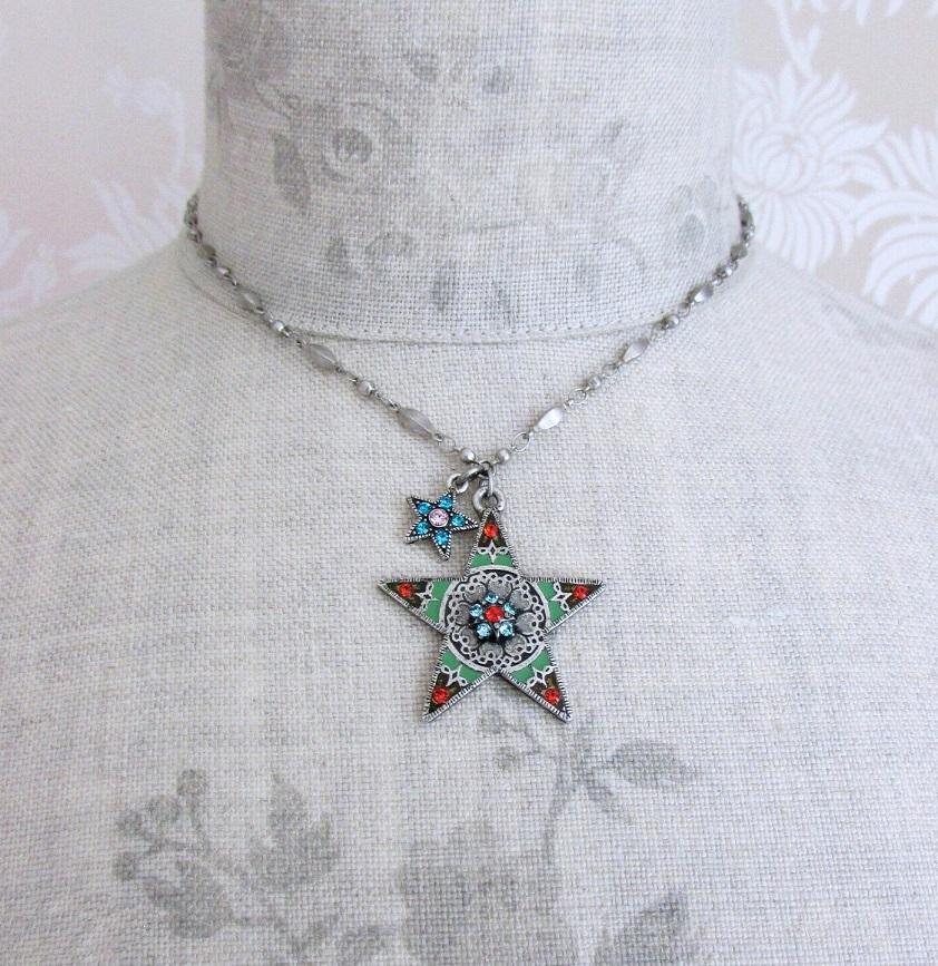 PILGRIM - STARS - Pendant Necklace - Silver Plate/Multi-Colour Swarovski BNWT