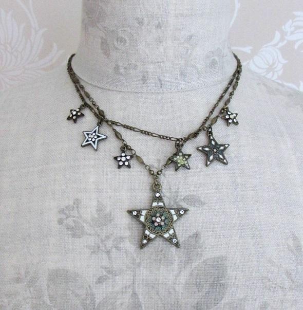 PILGRIM - STARS - Double Strand Necklace - Gold Plate/White Opal Swarovski BNWT