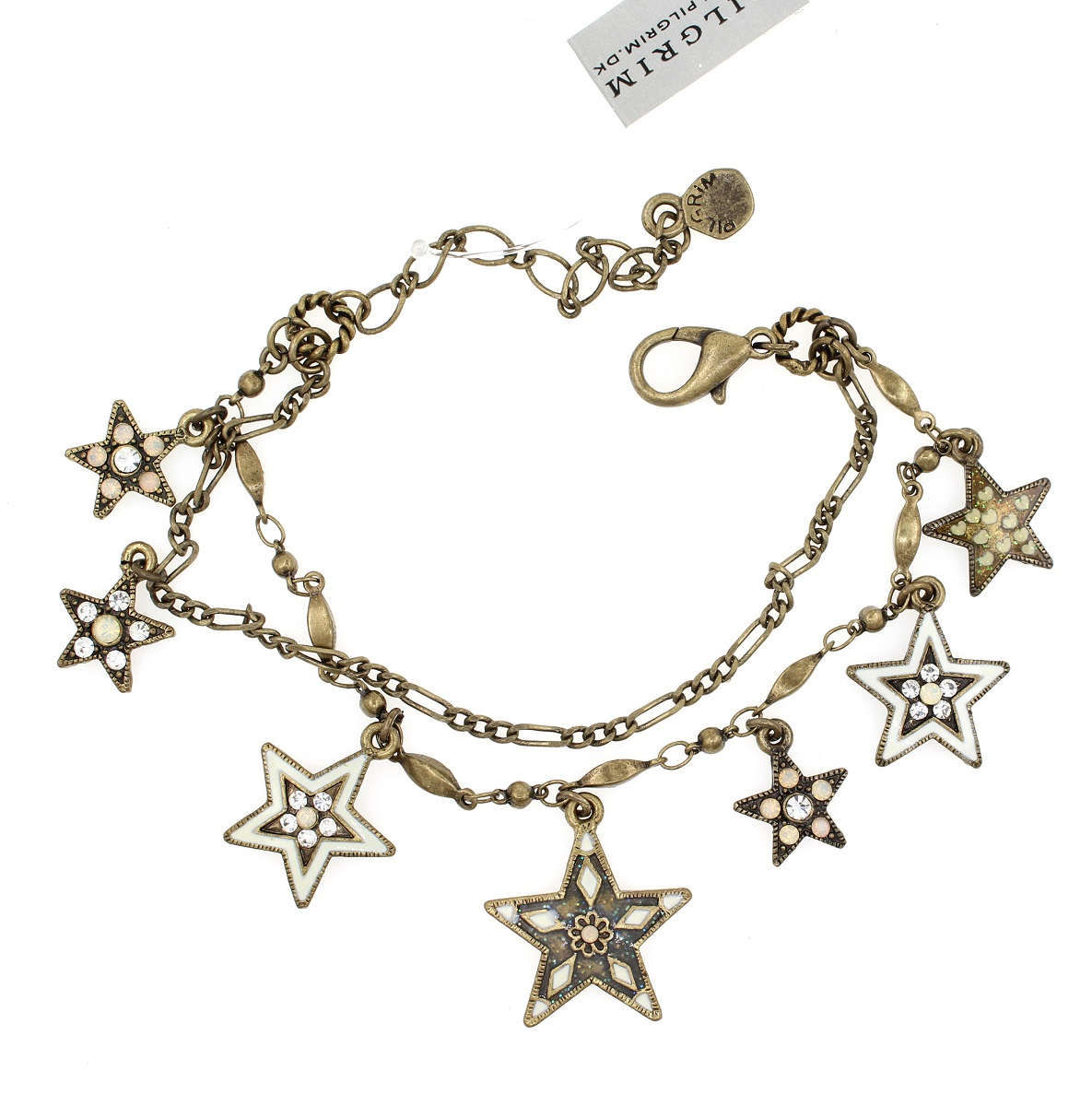 PILGRIM - STARS - Double Strand Charm Bracelet - Gold Plate/White Swarovski BNWT