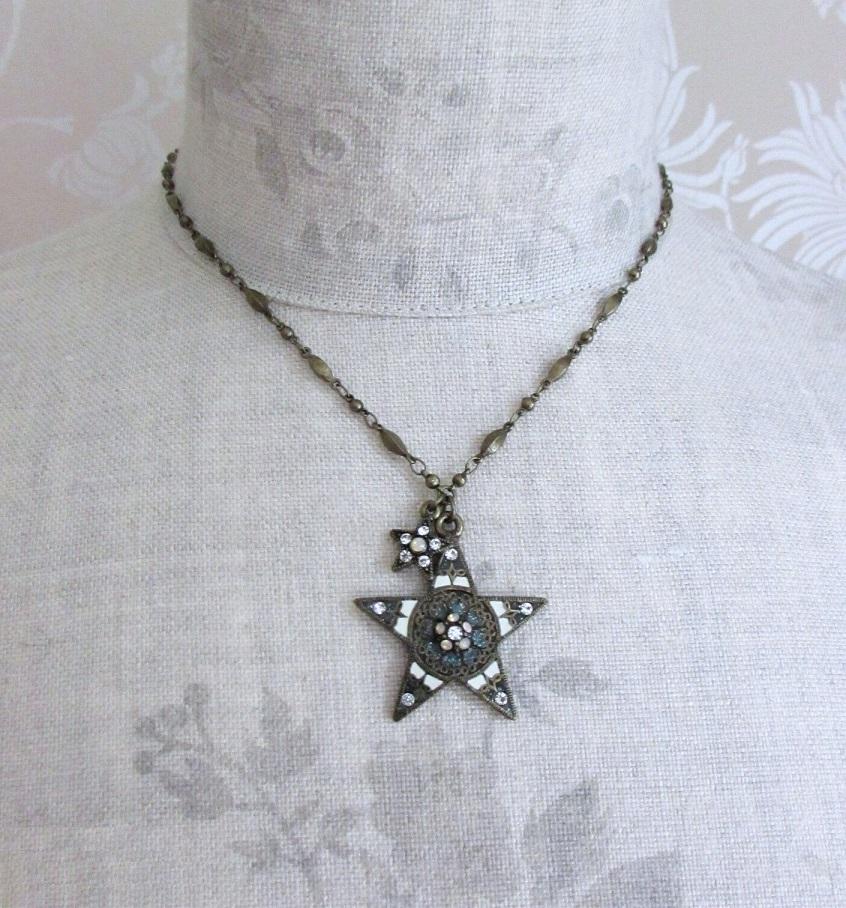 PILGRIM - STARS - Pendant Necklace - Gold Plate/White Swarovski BNWT