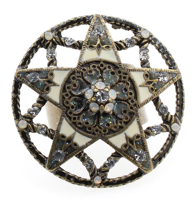 PILGRIM - STARS - Large Adjustable Ring - Gold Plate/White Swarovski BNWT