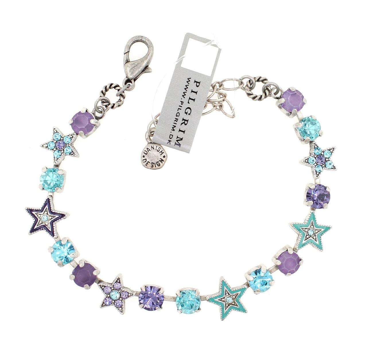 PILGRIM - STARS - Strand Bracelet - Silver Plate/Blue & Purple Swarovski BNWT