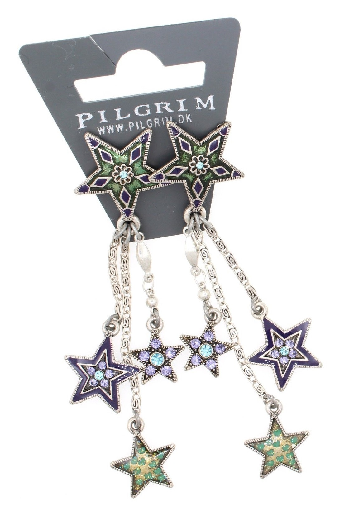 PILGRIM - STARS - Cascade Earrings - Silver Plate/Blue & Purple Swarovski BNWT