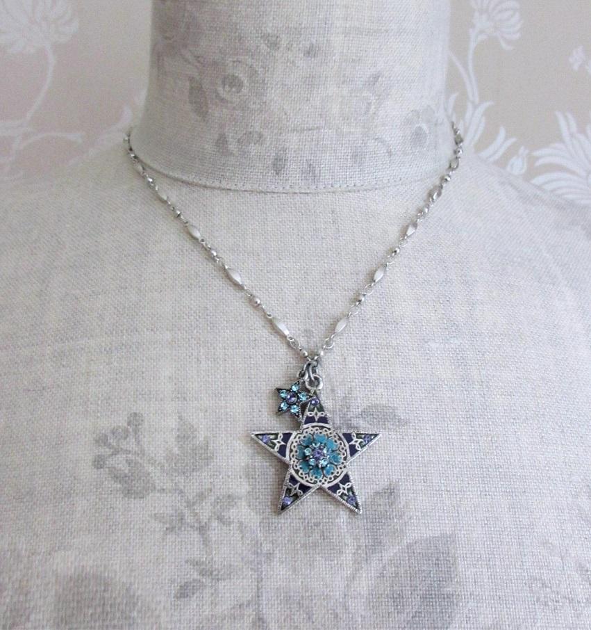 PILGRIM - STARS - Pendant Necklace - Silver Plate/Blue & Purple Swarovski BNWT