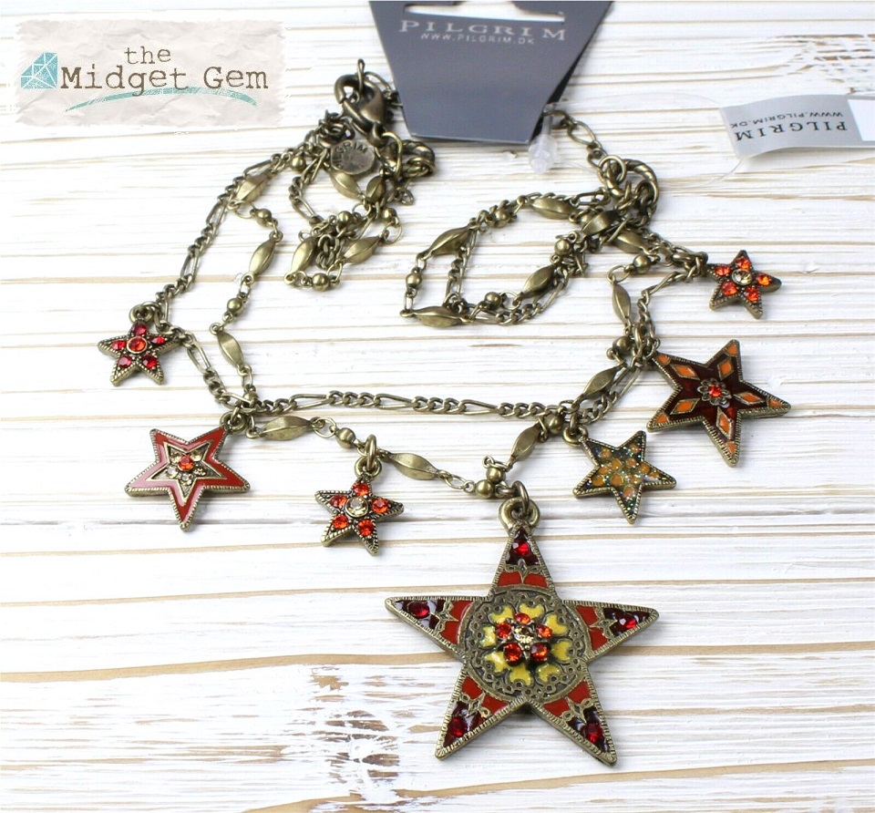 PILGRIM - STARS - Double Strand Necklace - Gold Plate/Red Swarovski BNWT