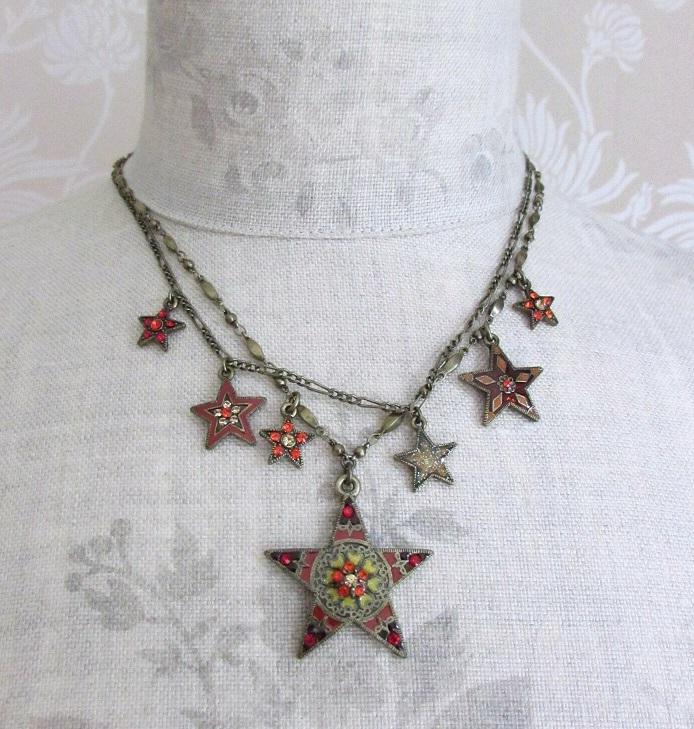 PILGRIM - STARS - Double Strand Necklace - Gold Plate/Red Swarovski BNWT