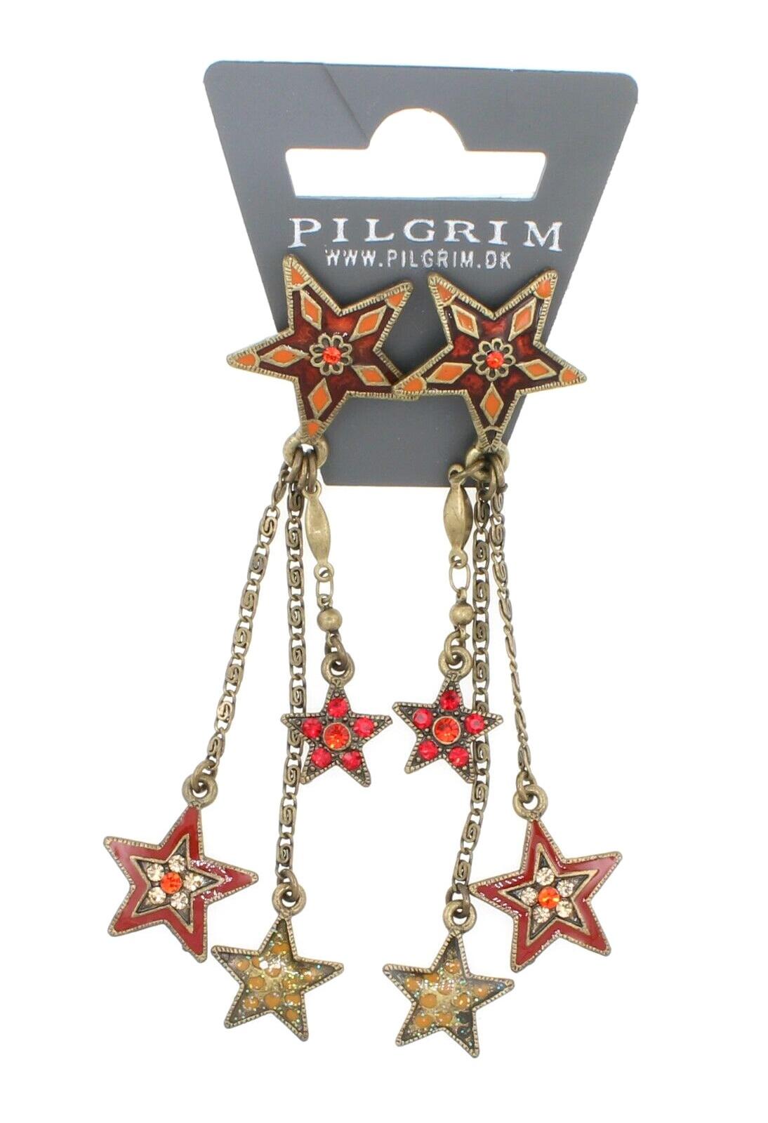 PILGRIM - STARS - Cascade Earrings - Gold Plate/Red Swarovski BNWT