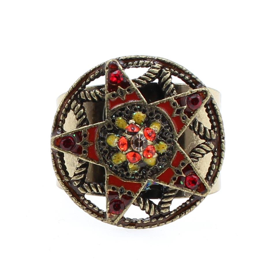 PILGRIM - STARS - Small Adjustable Ring - Gold Plate/Red Swarovski BNWT