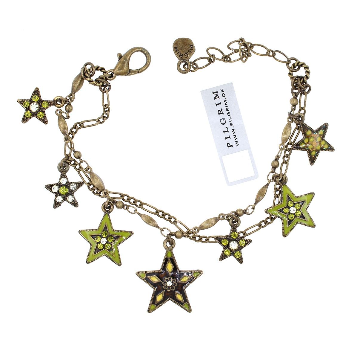 PILGRIM - STARS - Double Strand Charm Bracelet - Gold Plate/Green Swarovski BNWT