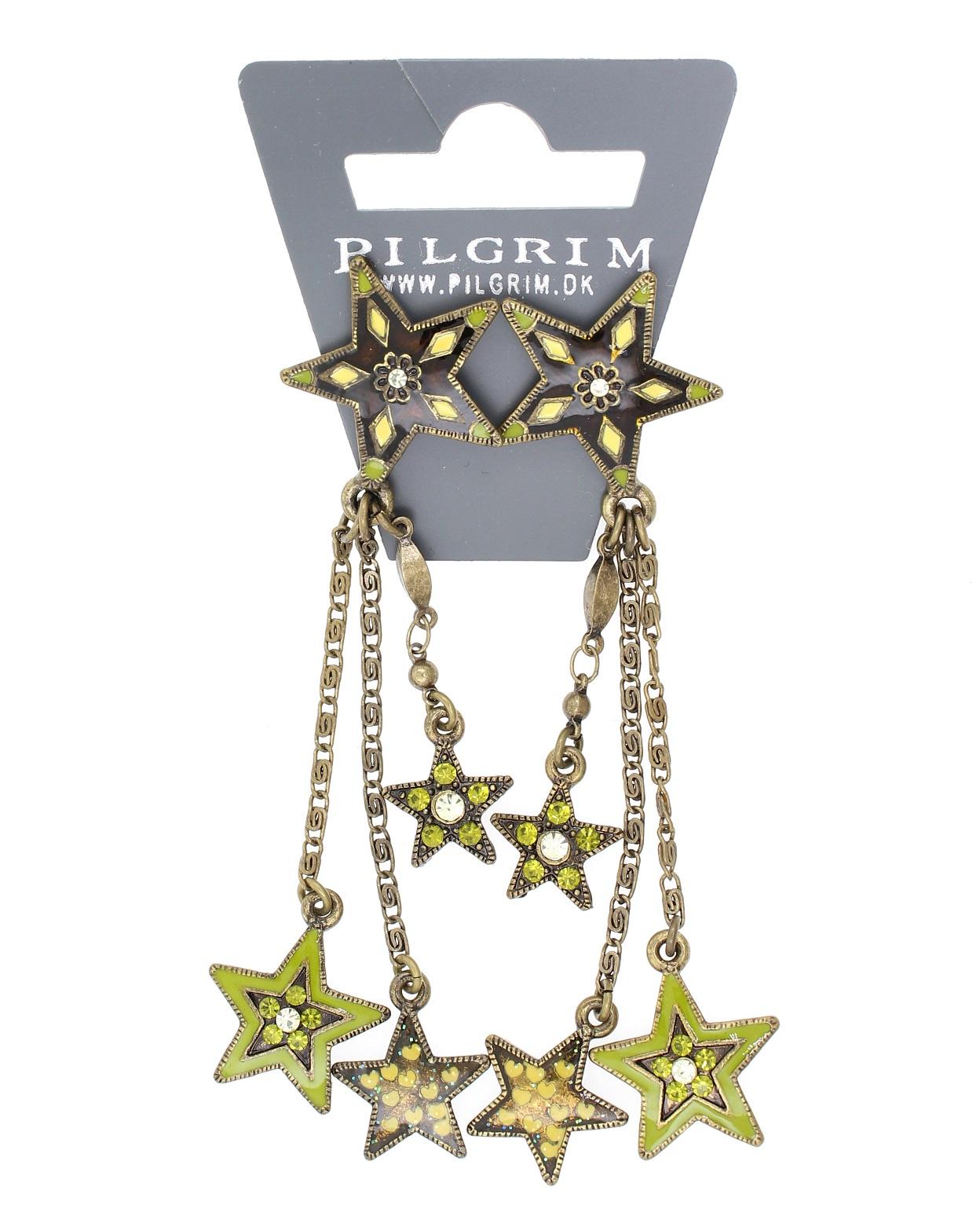 PILGRIM - STARS - Cascade Earrings - Gold Plate/Green Swarovski BNWT