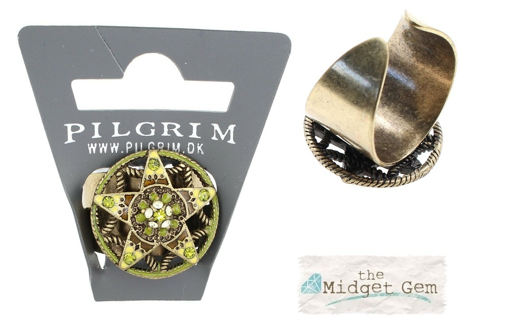 PILGRIM - STARS - Small Adjustable Ring - Gold Plate/Green Swarovski BNWT