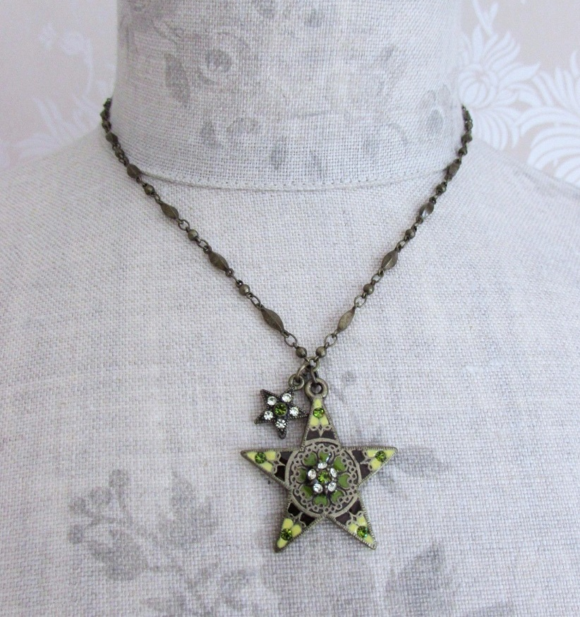 PILGRIM - STARS - Pendant Necklace - Gold Plate/Green Swarovski BNWT