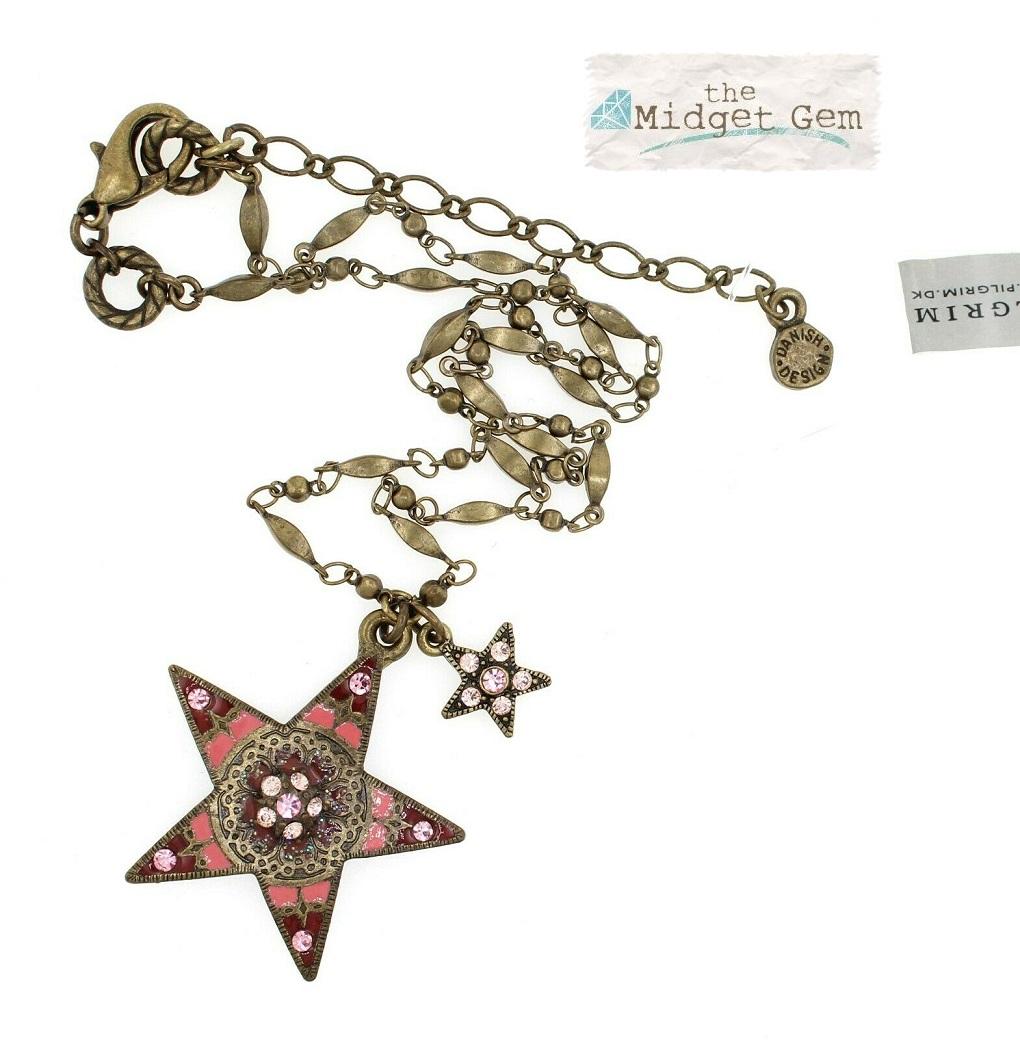 PILGRIM - STARS - Pendant Necklace - Gold Plate/Dusty Pink Swarovski BNWT