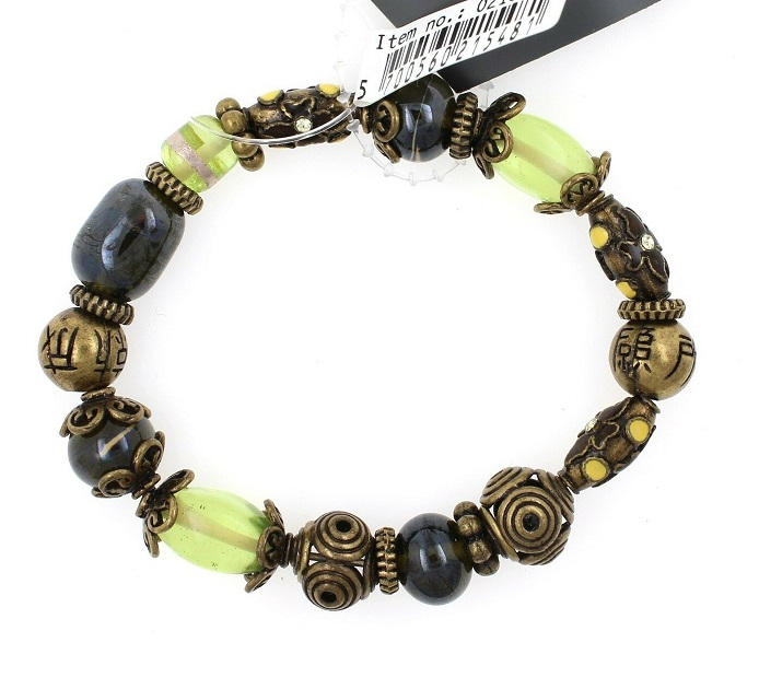 PILGRIM - STARS - Stretch Bracelet - Gold Plate/Green Swarovski BNWT