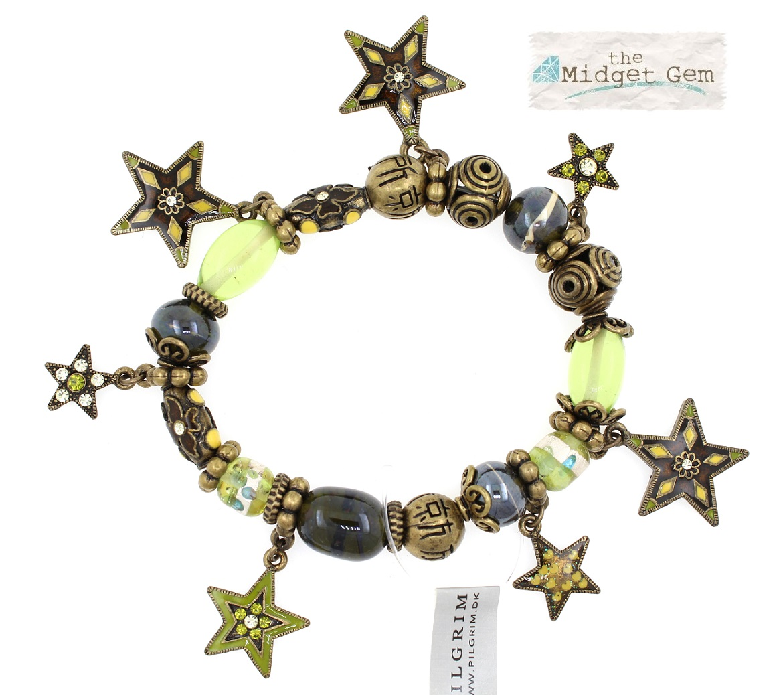 PILGRIM - STARS - Stretch Charms Bracelet - Gold Plate/Green Swarovski BNWT