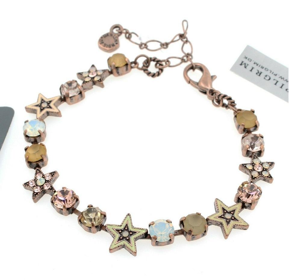 PILGRIM - STARS - Strand Bracelet - Copper Plate/Pink & White Opal Swarovski BNWT