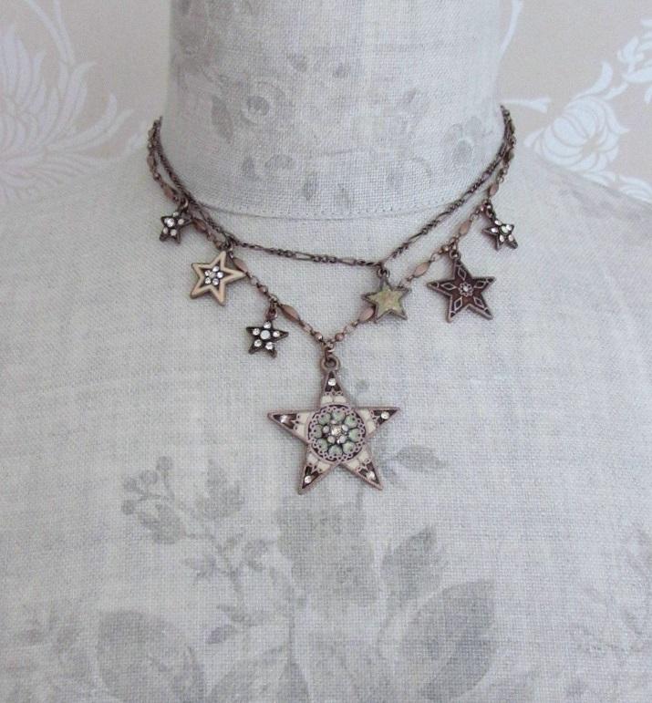 PILGRIM - STARS - Double Strand Necklace - Copper Plate/Pink & White Opal Swarovski BNWT