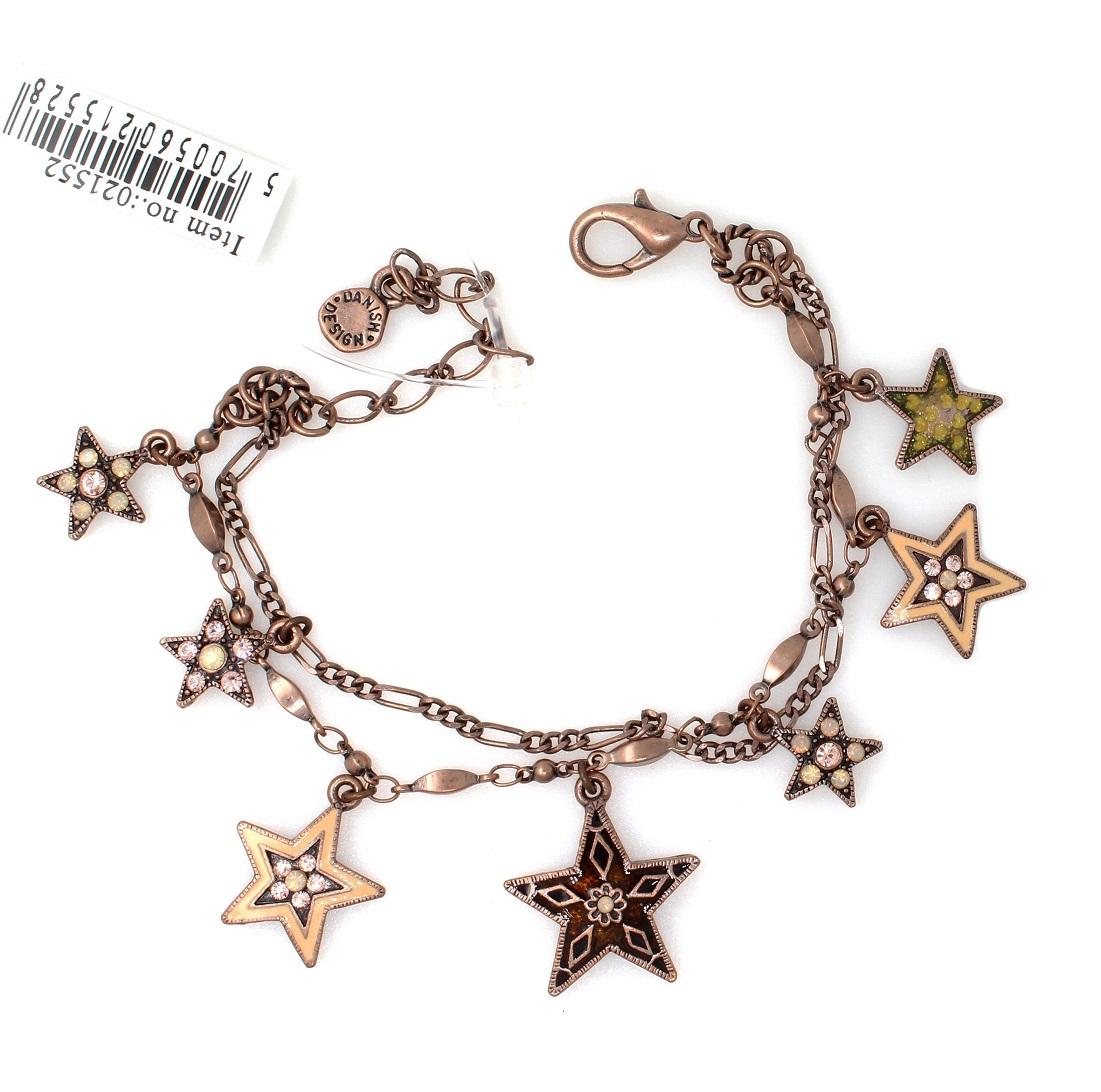 PILGRIM - STARS - Double Strand Charm Bracelet - Copper Plate/Pink Swarovski BNWT