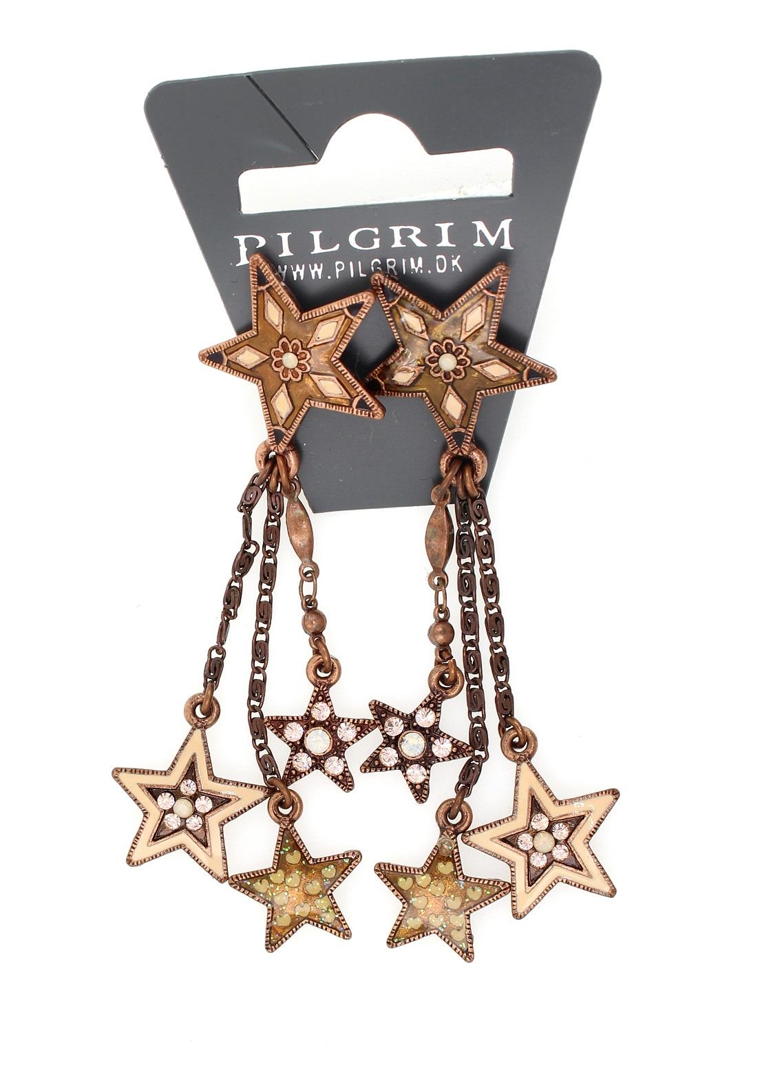 PILGRIM - STARS - Cascade Earrings - Copper Plate/Pink Swarovski BNWT