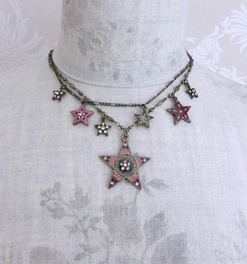 PILGRIM - STARS - Double Strand Necklace - Gold Plate/Pink Swarovski BNWT