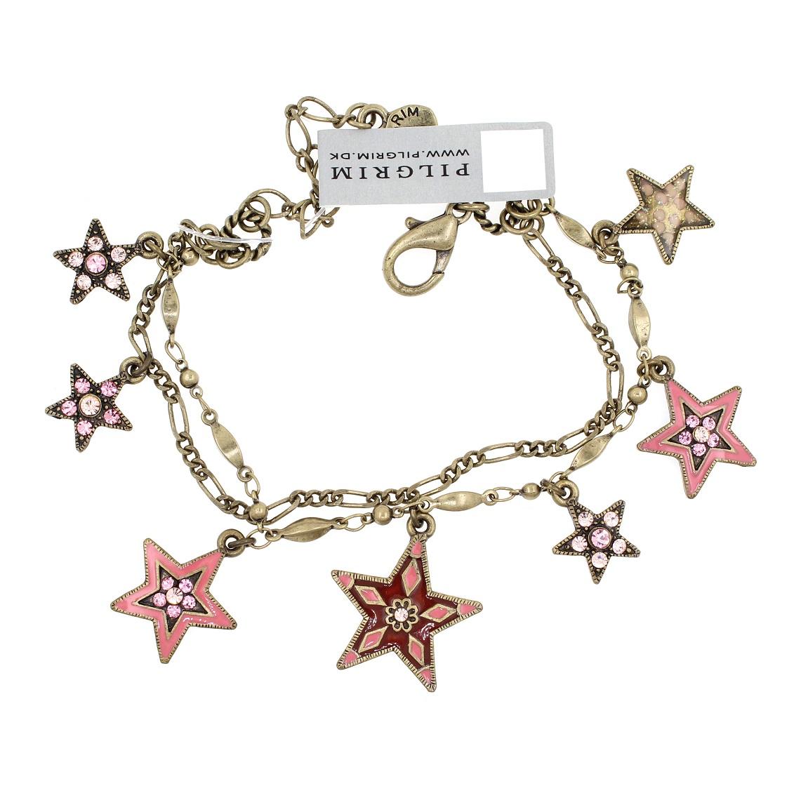 PILGRIM - STARS - Double Strand Charm Bracelet - Gold Plate/Pink Swarovski BNWT