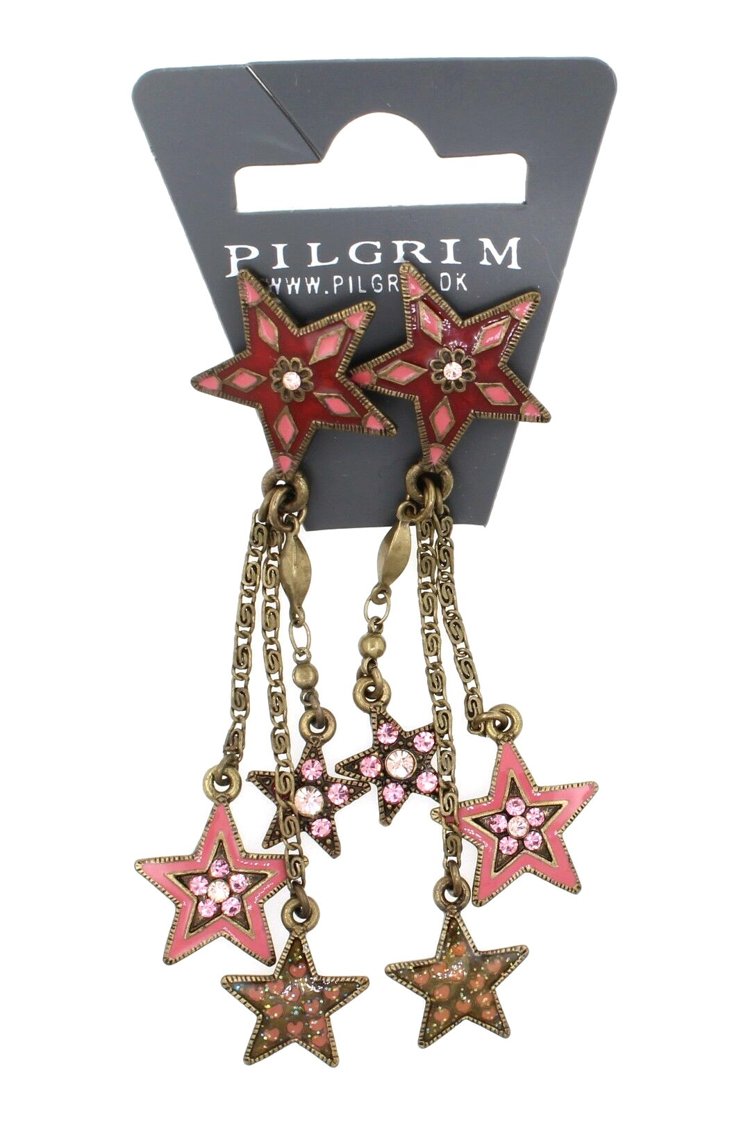PILGRIM - STARS - Cascade Earrings - Gold Plate/Pink Swarovski BNWT