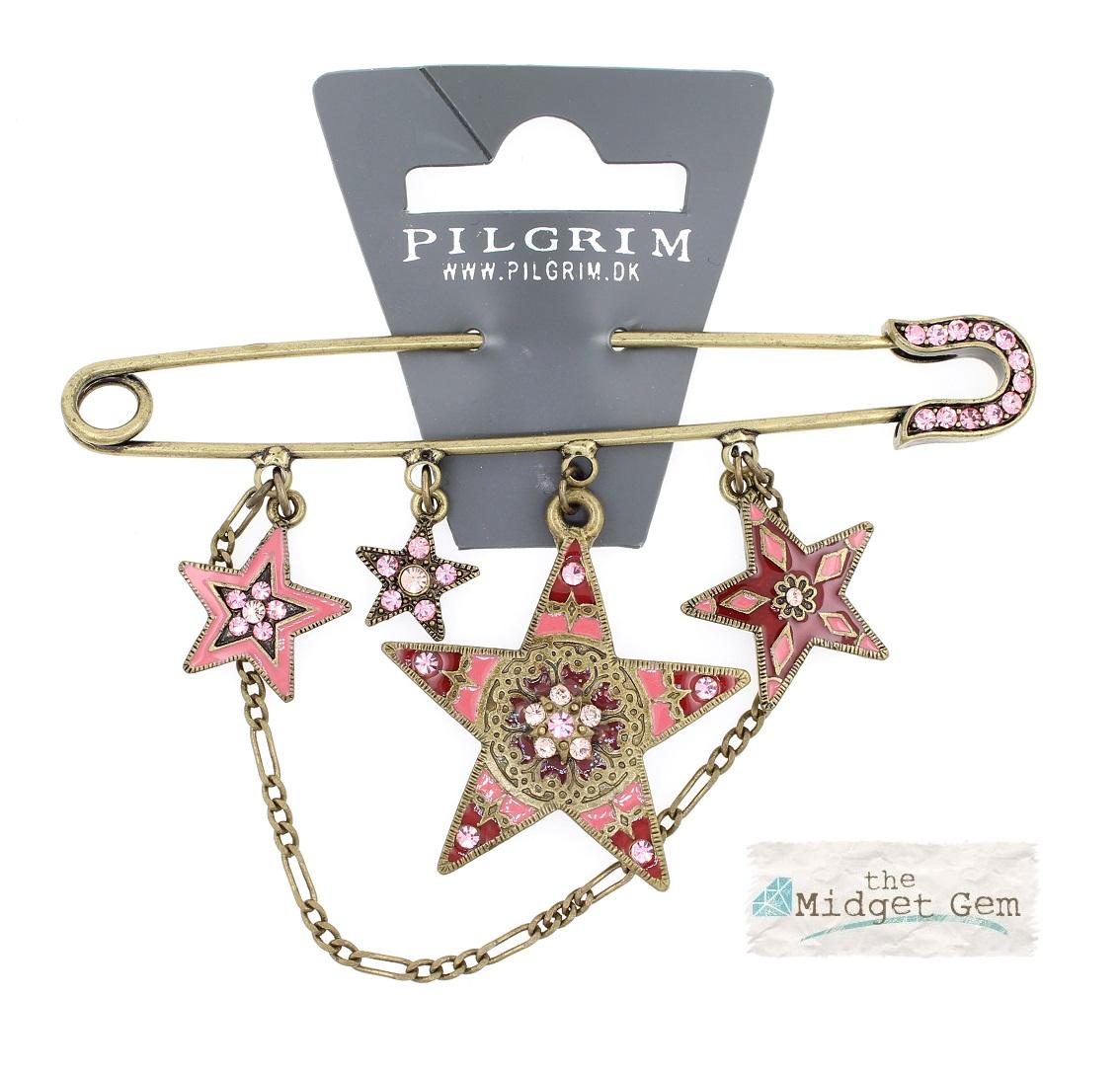 PILGRIM - STARS - Kilt Pin Brooch - Gold/Pink Swarovski BNWT