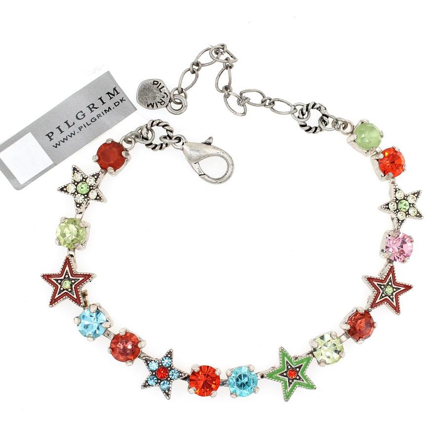 PILGRIM - STARS - Strand Bracelet - Silver Plate/Multi-Colour Swarovski BNWT