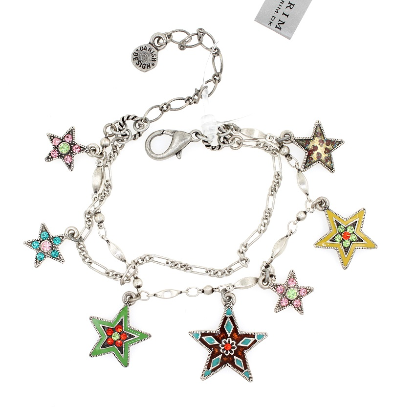 PILGRIM - STARS - Double Strand Charm Bracelet - Silver Plate/Multi-Colour Swarovski BNWT