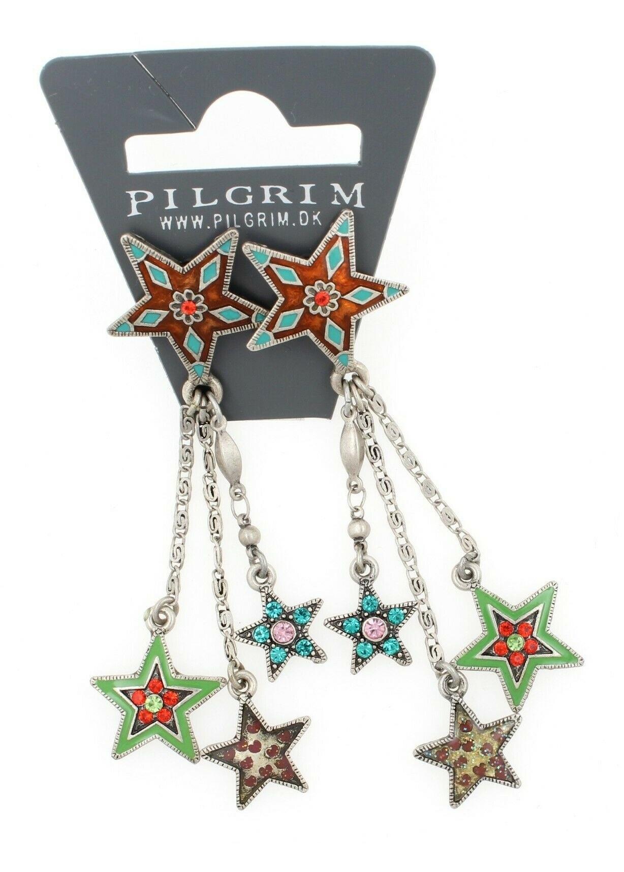 PILGRIM - STARS - Cascade Earrings - Silver Plate/Multi-Colour Swarovski BNWT