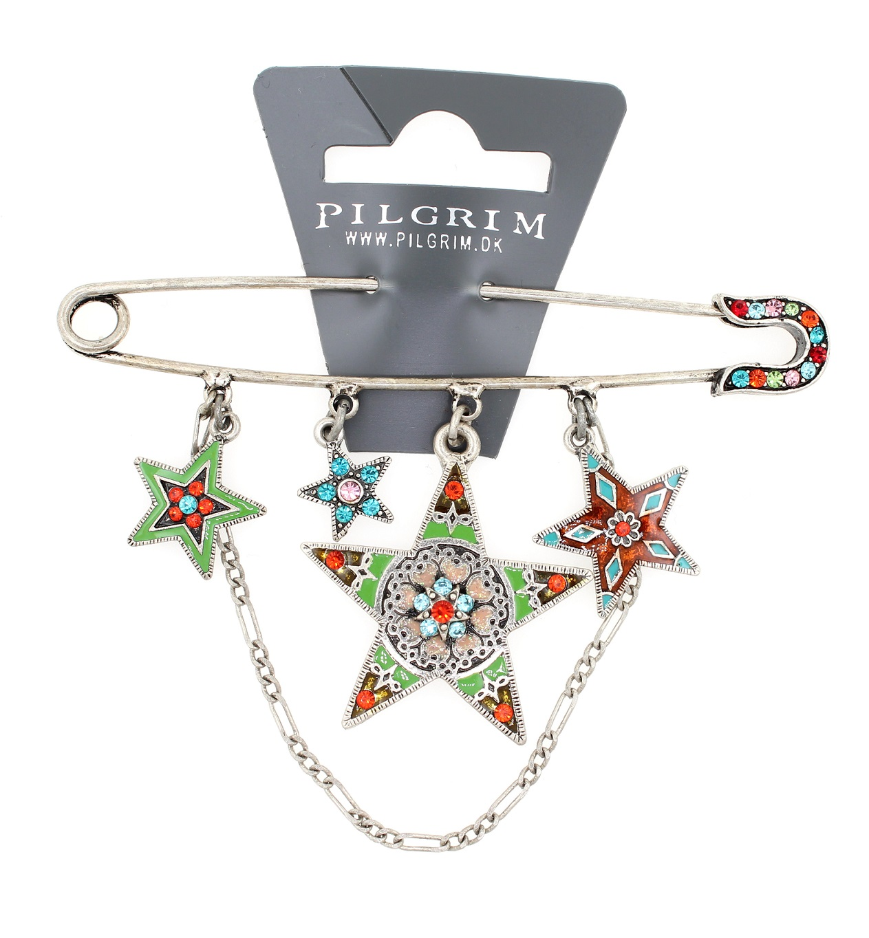 PILGRIM - STARS - Kilt Pin Brooch - Silver/Multi Swarovski BNWT
