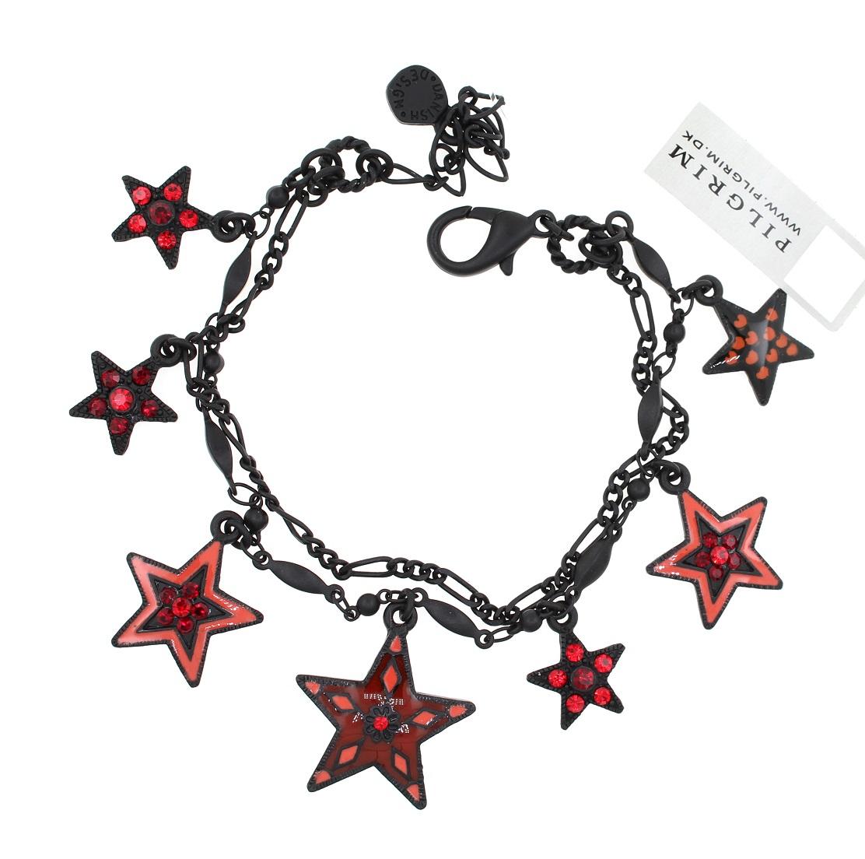 PILGRIM - STARS - Double Strand Charm Bracelet - Black Plate/Red Swarovski BNWT