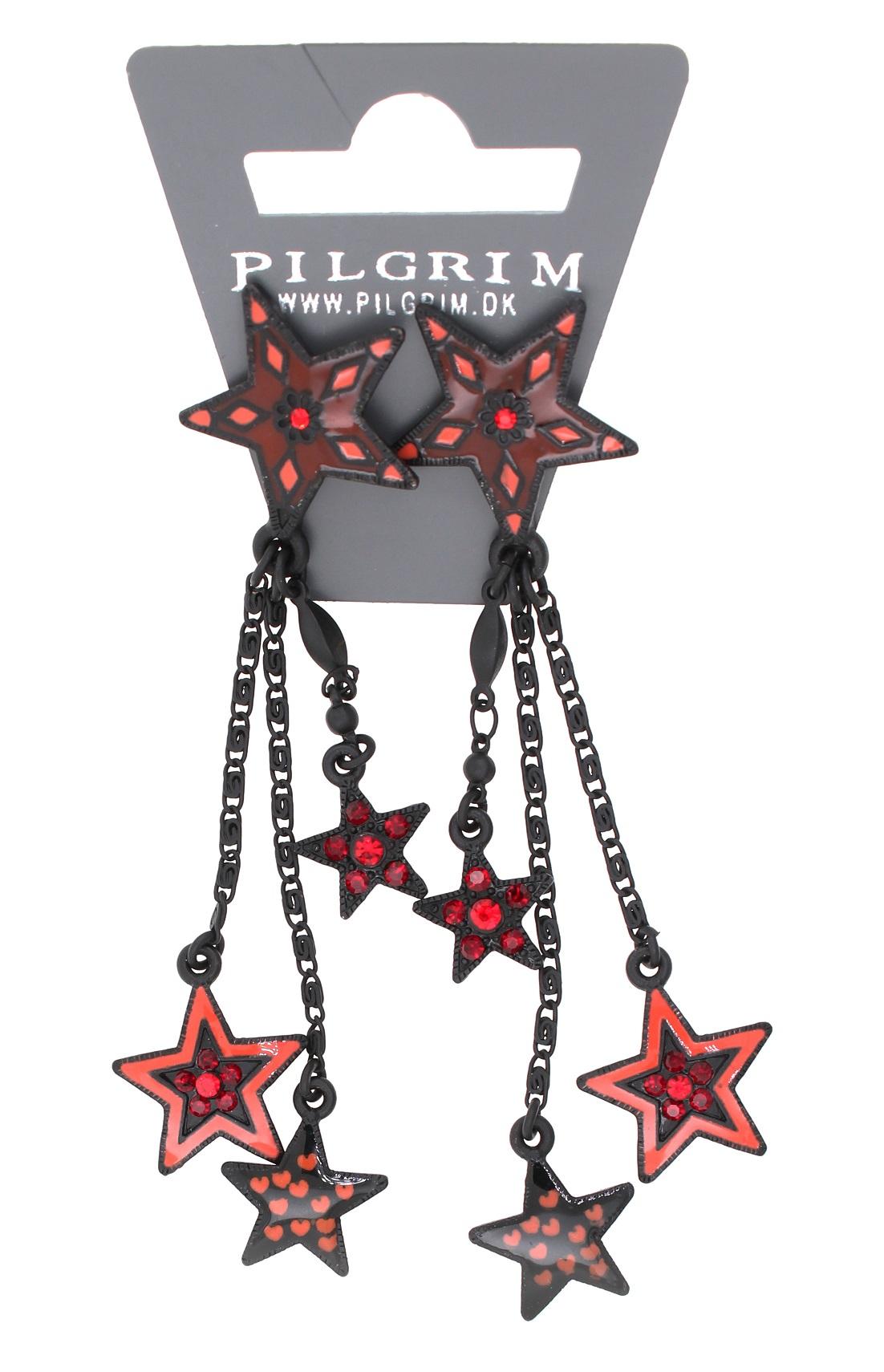PILGRIM - STARS - Cascade Earrings - Black Plate/Red Swarovski BNWT