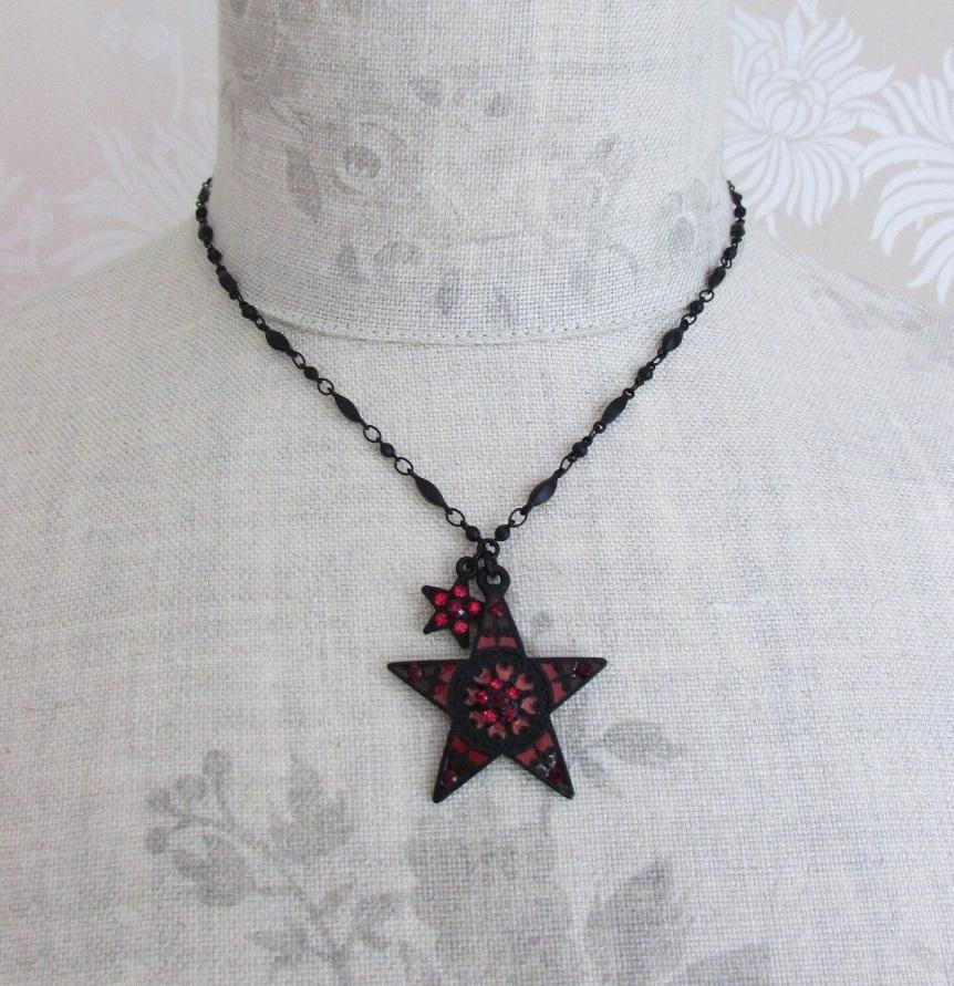 PILGRIM - STARS - Pendant Necklace - Black Plate/Red Swarovski BNWT