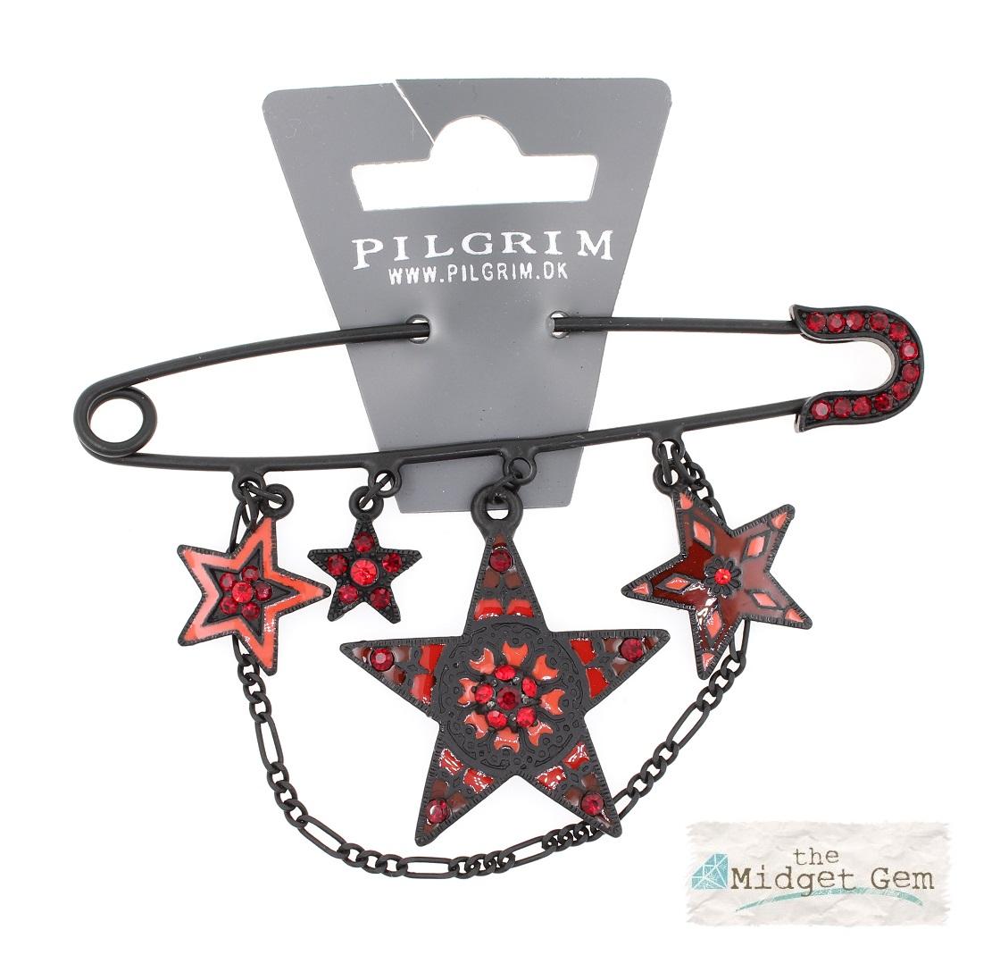 PILGRIM - STARS - Kilt Pin Brooch - Black/Red Swarovski BNWT