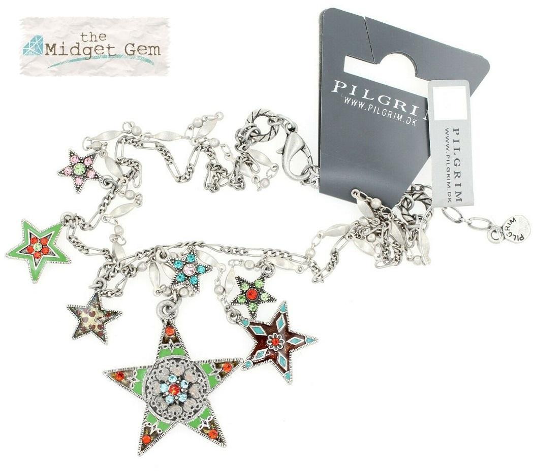 PILGRIM - STARS - Double Strand Necklace - Silver Plate/Multi-Coloured Swarovski BNWT