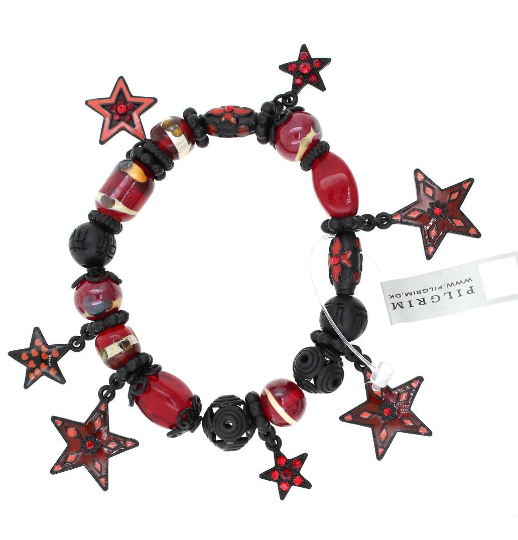 PILGRIM - STARS - Stretch Charms Bracelet - Black Plate/Red Swarovski BNWT