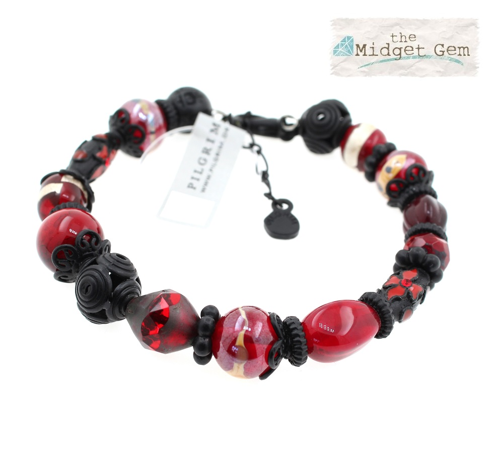 PILGRIM - STARS - Wired Bracelet - Black Plate/Red BNWT