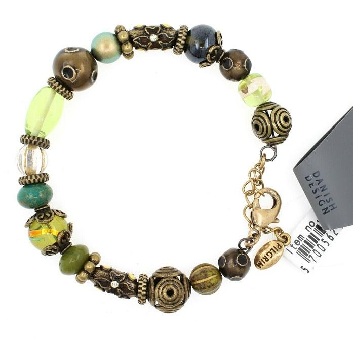 PILGRIM - STARS - Wired Bracelet - Gold Plate/Green Swarovski BNWT