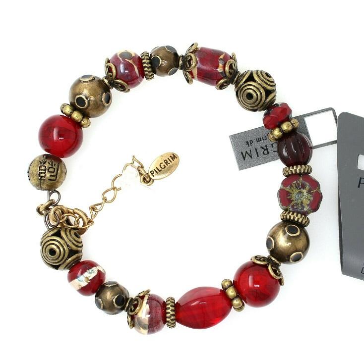 PILGRIM - STARS - Wired Bracelet - Gold Plate/Red BNWT