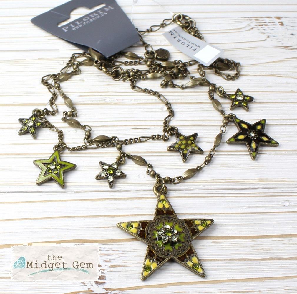 PILGRIM - STARS - Double Strand Necklace - Gold Plate/Green Swarovski BNWT