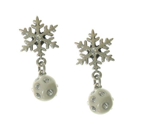 A & C White 'Winter Dream' Snowball & Snowflake Earrings