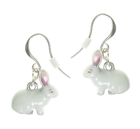 A & C White Rabbit Hook Earrings