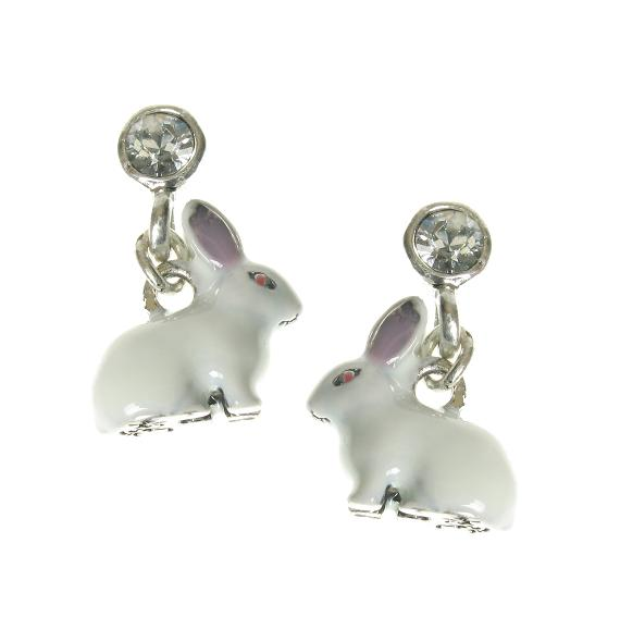 A & C White Rabbit Swarovski Crystal Stud Earrings