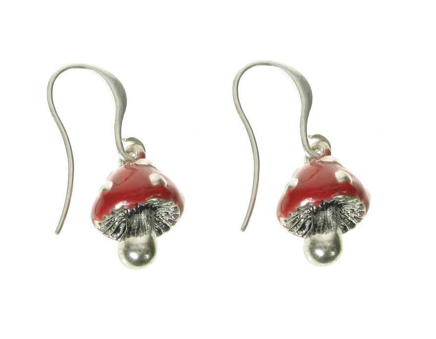 A & C Funny Mushroom Earrings - Burnished Silver Plate