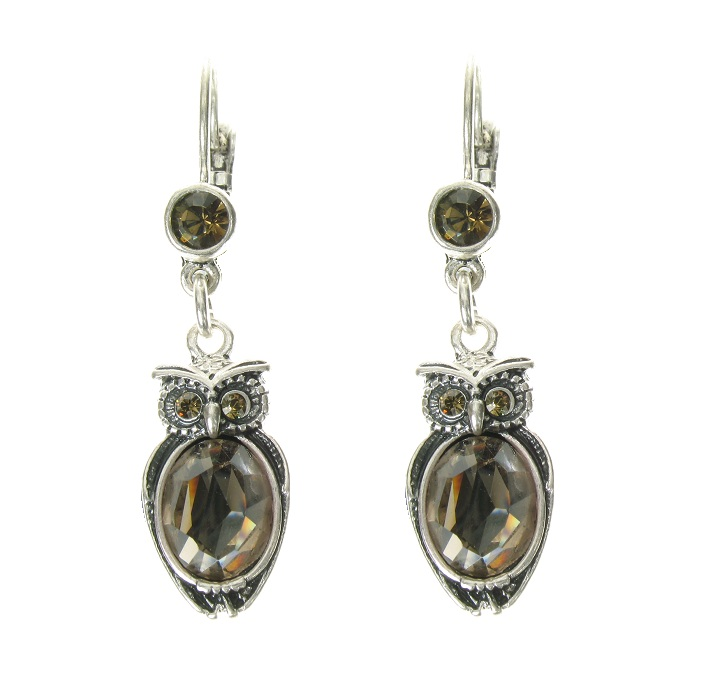 A & C Dangly Owl Earrings - Burnished Silver Plate/Hand-Cut Crystal