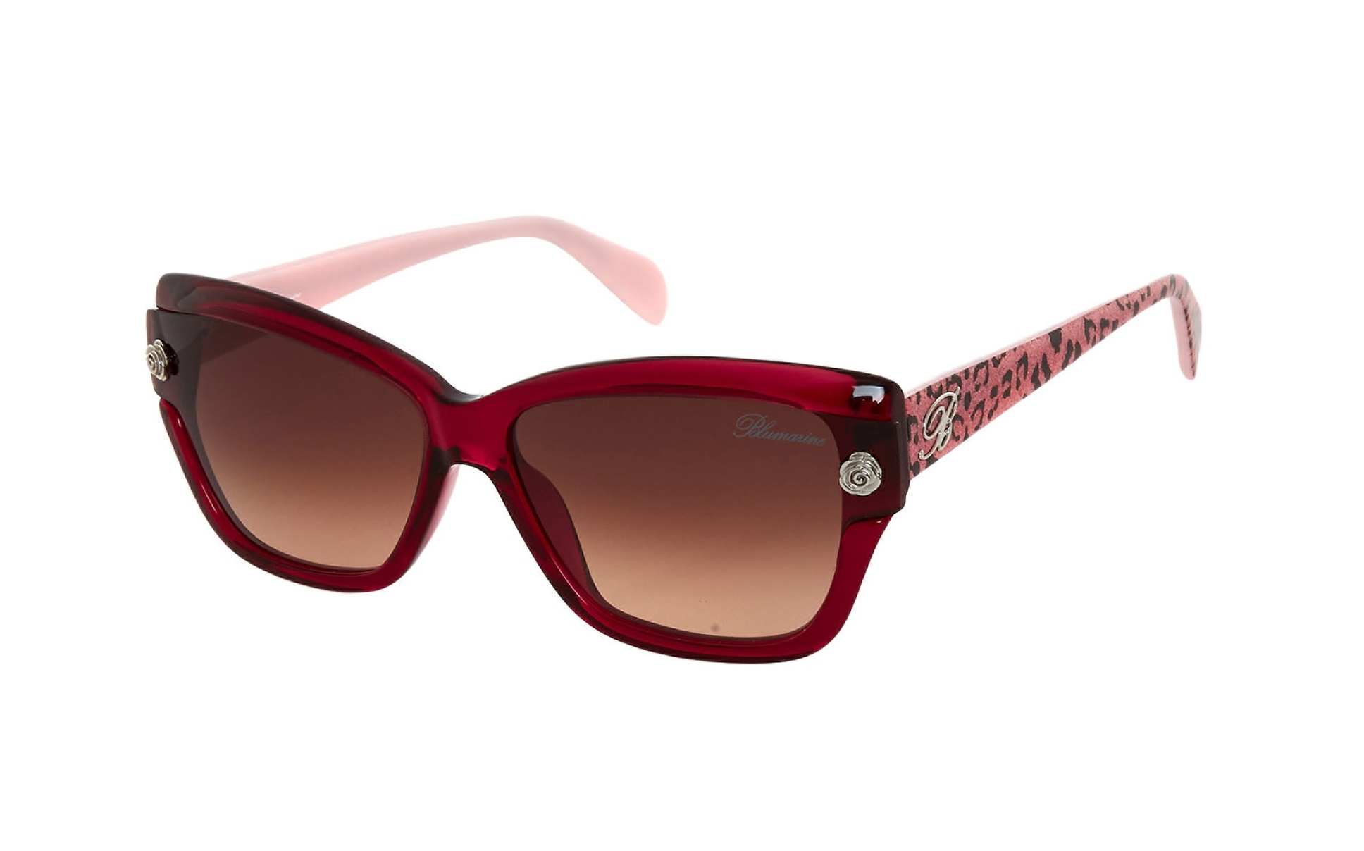 BLUMARINE Animal Print Pink Butterfly Motif Sunglasses