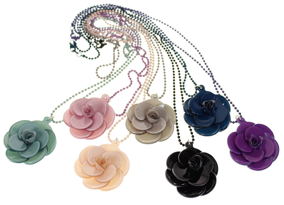 BIG BABY Small Rose Flower Pendant Necklace