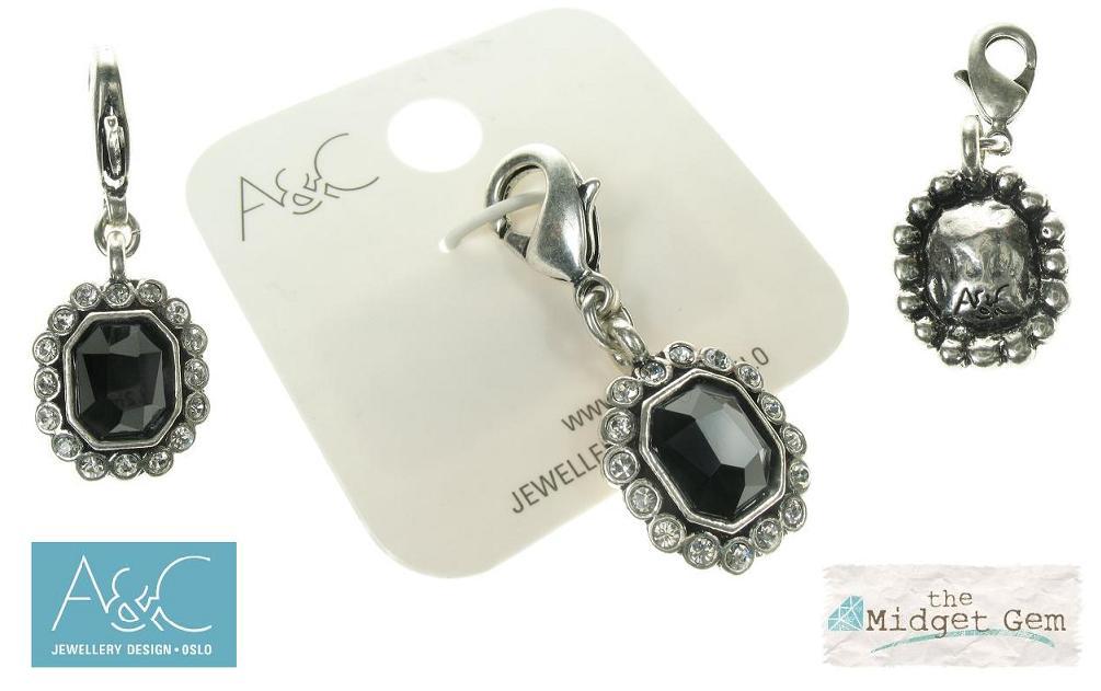 A & C - Black Swarovski Crystal Tablet Clasp-On Charm Silver Plate