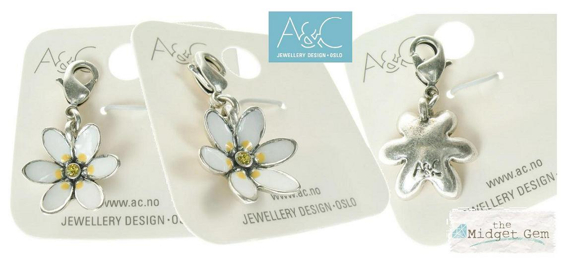 A & C 'Tea Party'  White Cupped Flower Charm Silver Plate